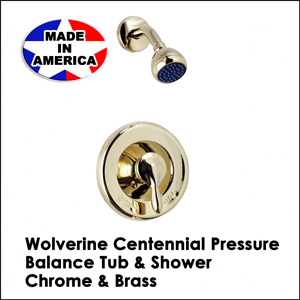 Centennial Pressure Balance Tub & Shower Chrome & Brass CV11001T