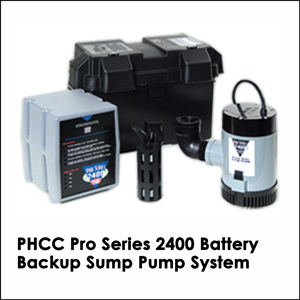 PHCC Pro Series 2400 Battery Backup Sump Pump System